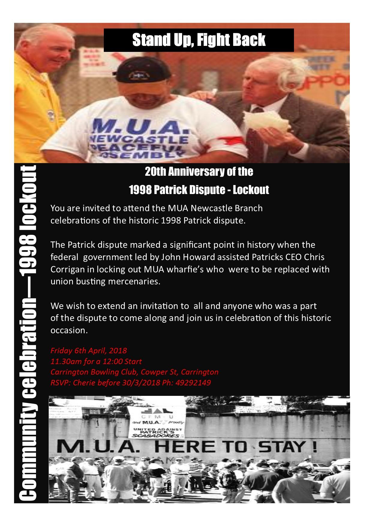 Invitation - 20th Anniversary 1998 Patrick dispute